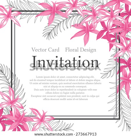 Vector vintage invitation card with frame of exotic flowers and palm leafs. - stock vector
