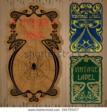 vector vintage items: label art nouveau - stock vector