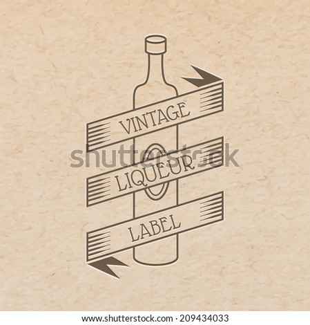 Vector vintage label pressed out on craft paper, beverages emblem - wine bottle with place for text ribbon - stock vector