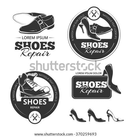 Vector vintage labels set of shoes repair - stock vector