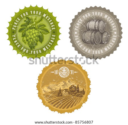 Vector vintage labels with hand drawn elements - viticulture and winemaking - stock vector