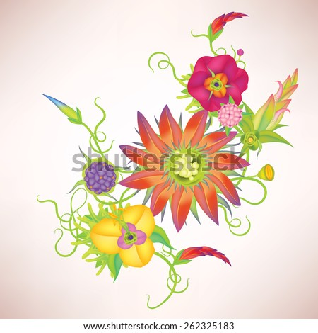 Vector vintage leaves and flowers - stock vector
