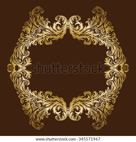 Vector vintage luxurious ornate floral gold frame - stock vector