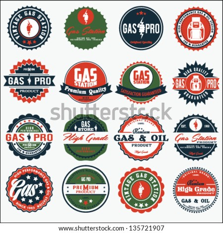 vector vintage oil and gasoline sign set. - stock vector