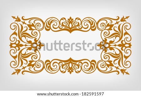 vector vintage ornate border frame filigree with retro ornament pattern in antique baroque style Arabic decorative calligraphy design   - stock vector