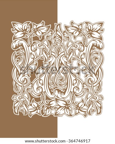 Vector vintage pattern of flowers and leaves in the Art Nouveau style - stock vector
