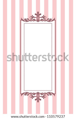 Vector vintage pink striped frame - stock vector