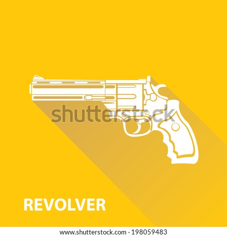 vector vintage pistol gun icon on orange background - stock vector