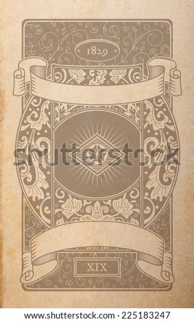 Vector vintage playing cards back design, floral ornamental faded out of time drawing on parchment - stock vector