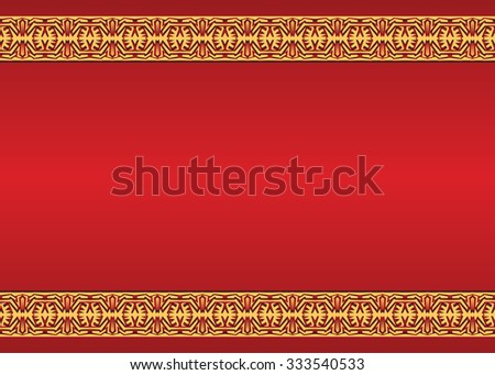Vector vintage red background with ornaments on the edges - stock vector
