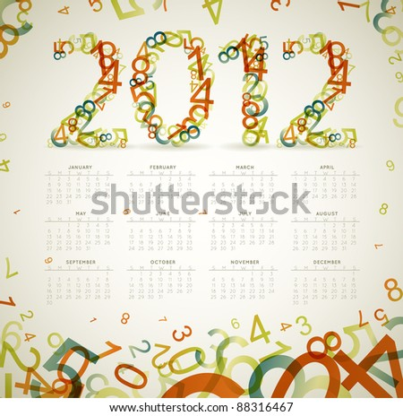 Vector Vintage retro calendar for the new year 2012 with numbers - stock vector
