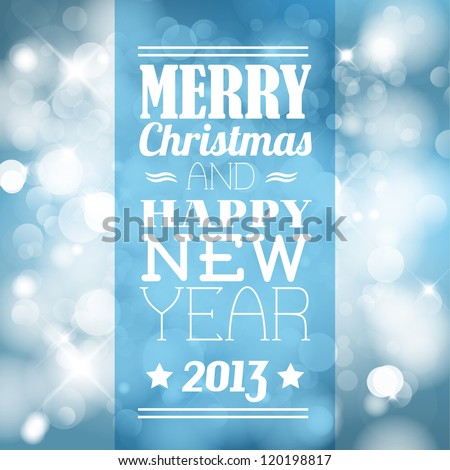 Vector vintage retro christmas label on blurred background - stock vector