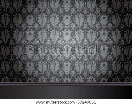 Vector - Vintage Room with wood floor and seamless wallpaper. - stock vector