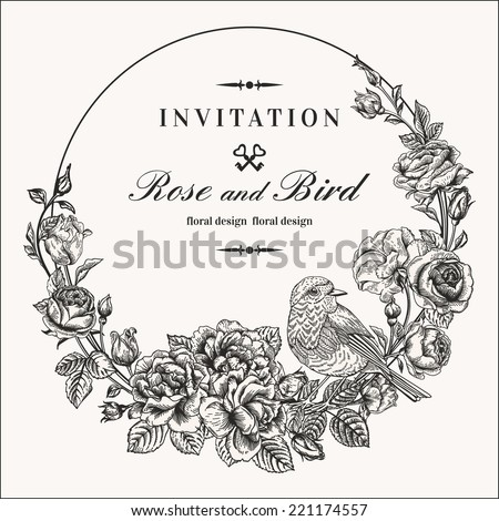 Vector vintage round frame with birds and roses. Floral wreath. Black and white. Fit for wedding card, invitation, greetings. - stock vector