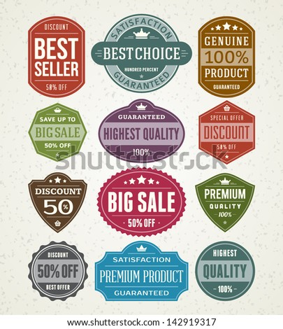 Vector vintage sale label set design elements Premium quality, discount, price illustrations. - stock vector