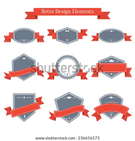 Vector vintage set of labels with red ribbons. Design elements collection. Banners templates in retro style - stock vector