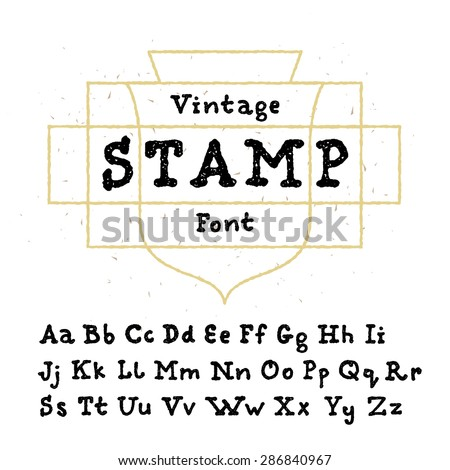 Vector vintage stamp font. High quality design element. - stock vector