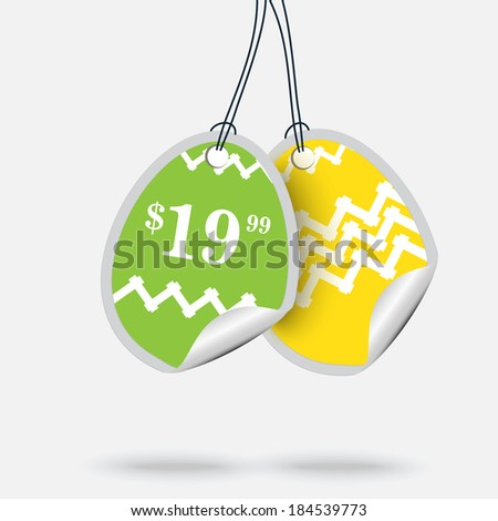 Vector vintage stickers - eggs  - stock vector