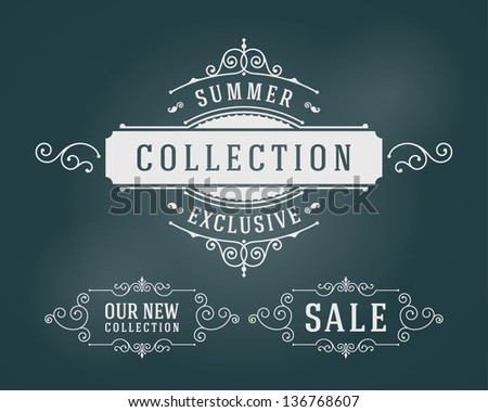 Vector vintage summer sale sign set and antique frames - stock vector