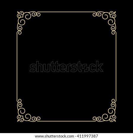 Vector vintage thin gold frame for your design. Vintage cover. Place for text. - stock vector