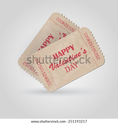 Vector vintage ticket - happy valentine day  - stock vector