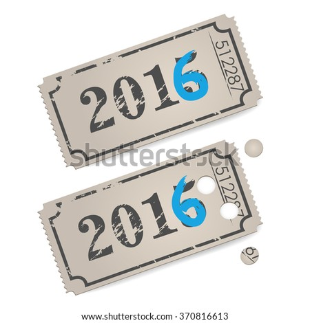 Vector vintage tickets - new year 2016  - stock vector