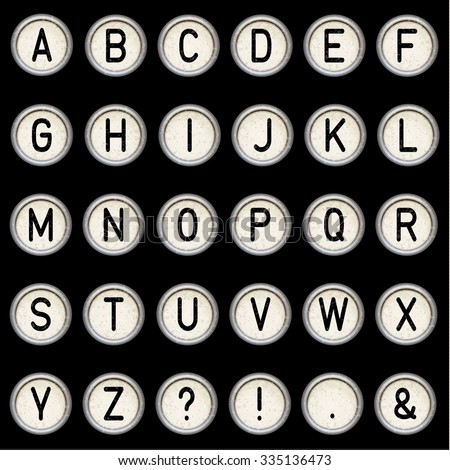 Vector vintage typewriter buttons - alphabet. Isolated on black background. Letter/key of old typewriter. Eps 10. - stock vector