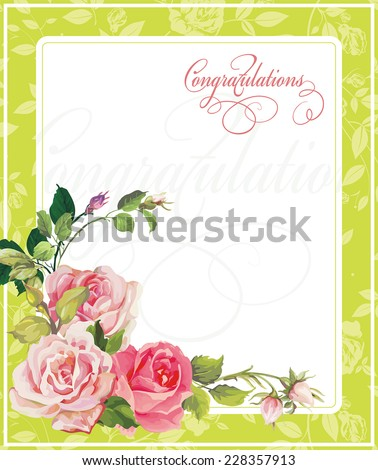 Vector vintage wedding postcard in Victorian style. Background with place for your text - stock vector
