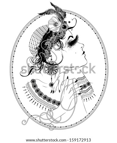 Vector vintage woman illustration - stock vector