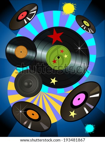 Vector vinyl disc records - stock vector