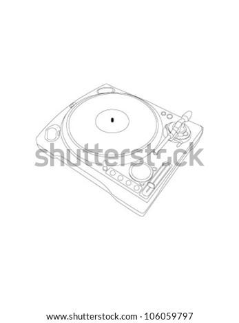 vector vinyl player - stock vector