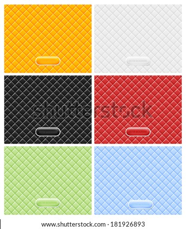 Vector vinyl upholstery padded glossy backgrounds collection - stock vector