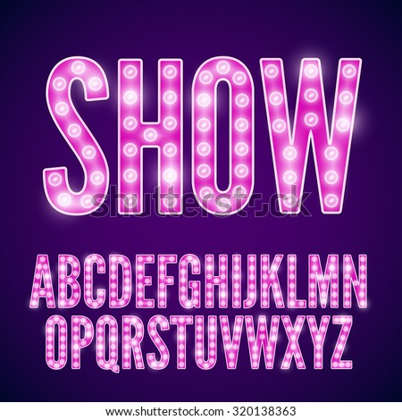 Vector violet pink neon lamp cinema font - stock vector