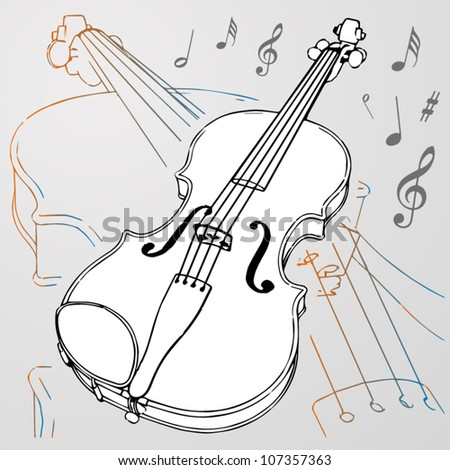 Vector violin background - stock vector