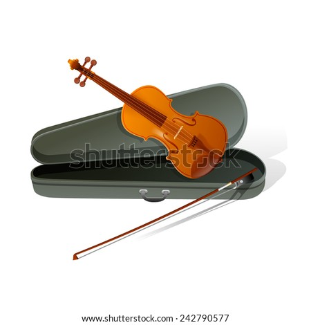 vector violin with bow  - stock vector