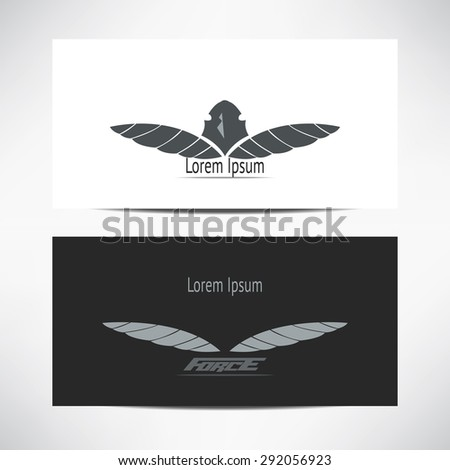 Vector visit card with logo with eagle and wings - stock vector