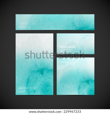 vector visual corporate identity with azure paint watercolor splash background for web or printed media design. brand stationery template. business card, flyer, invitation, greeting card and postcard - stock vector