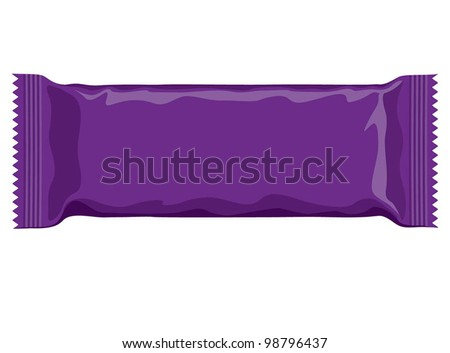 Vector visual of purple flow wrap plastic packet for biscuit, wafer, crackers, sweets, chocolate, candy, cereal bar, snacks etc - stock vector