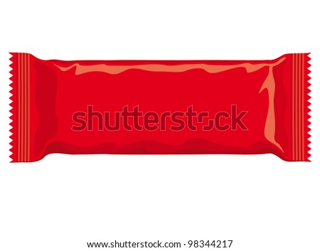 Vector visual of red flow wrap plastic foil packet, packaging or wrapper for biscuit, wafer, crackers, sweets, chocolate bar, candy bar, snacks etc - stock vector