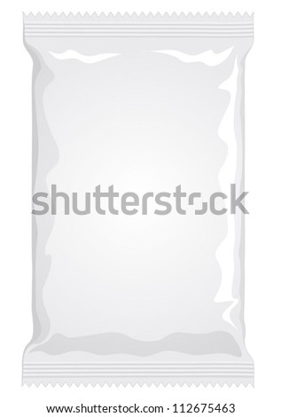 Vector visual of white or clear plain flow wrap plastic film or foil packet, packaging or wrapper for food - pasta, biscuit, wafer, crackers, sweets, chocolate bar, candy bar, snacks etc - stock vector