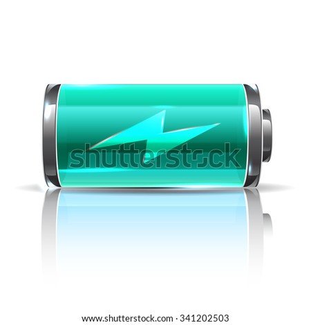 Vector vivid mint color battery, full charge battery with lighting. Realistic illustration battery for energy project - stock vector