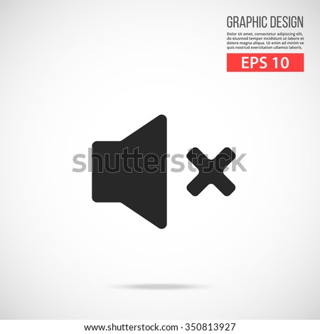 Vector volume off icon. Black mute, no sound vector icon. Simple flat design vector illustration concept for web banner, web and mobile app, infographic. Vector icon isolated on gradient background - stock vector