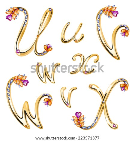 Vector volume shiny bronze alphabet with floral details from diamonds and gems, letters U,V,W,X - stock vector