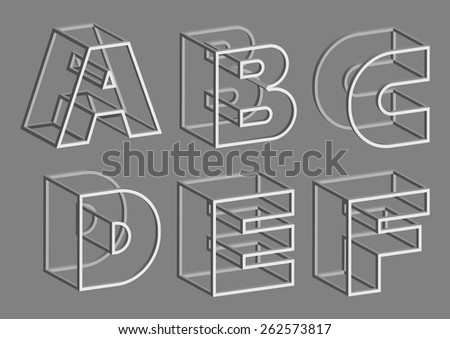Vector Volume Wire Alphabet. Letters A B C D E F  - stock vector