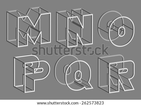 Vector Volume Wire Alphabet. Letters M N O P Q R  - stock vector