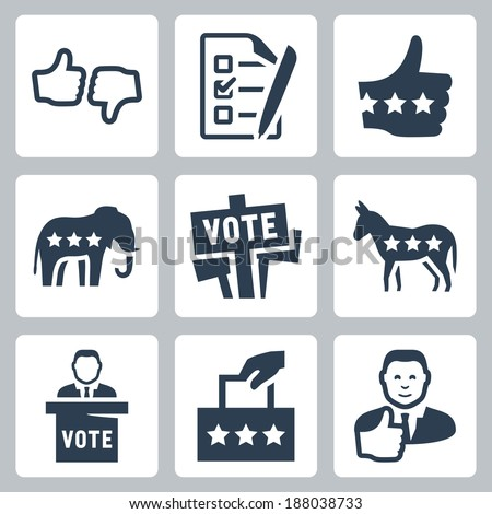 Vector voting and politics icons set - stock vector
