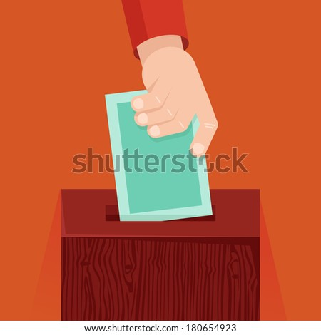 Vector voting concept in flat style - hand putting voting paper in the wooden ballot box - stock vector