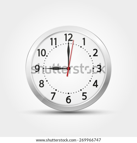 Vector wall analog clock silver 12 hours real realistic second minute hour - stock vector