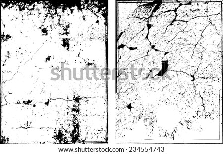 Vector Wall Background Texture . Distress Texture . Grunge Texture . Dirt Texture . Vintage Background . Set of Textures . Simply Place Texture over any Object to Create Distressed Effect .  - stock vector