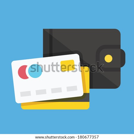 Vector Wallet and Credit Cards Icon - stock vector